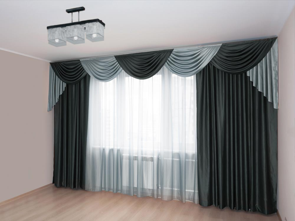 Bedroom day curtains drawn close, dimout curtains drawn open. It filters the harsh sunlight while letting ample light in.