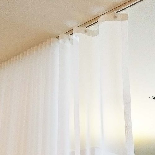 S Fold Curtain with sheer material. It's used as a day curtain or room separator.
