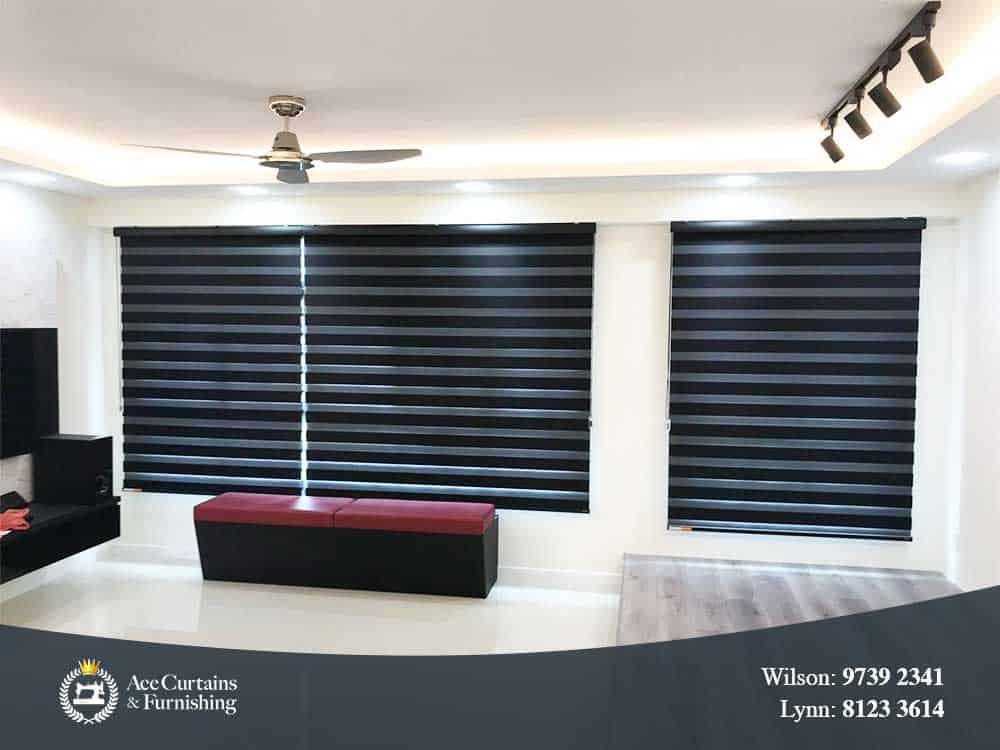 Black Korean zebra blinds for HDB BTO flat's living room blocks out light.