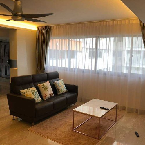 Hougang resale flat with day curtain drawn close and dimout curtain kept neatly with tie belt.