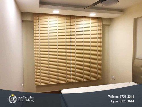 Zen brown timber venetian blinds for bedroom.