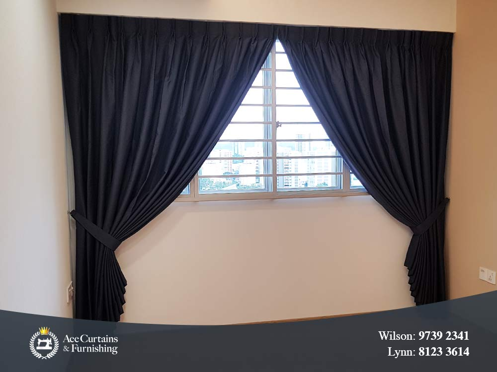 Floor drop dimout window curtains with a standard window.