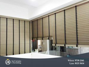 Venetian blind acting as an indoor privacy room divider.