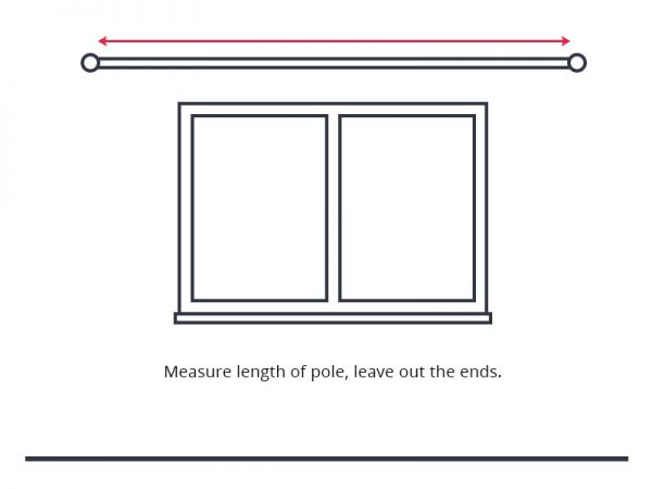 Guide to measure curtain width with curtain rod or pole.