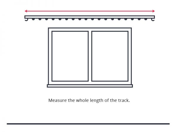 Guide to measure curtain width with curtain track.