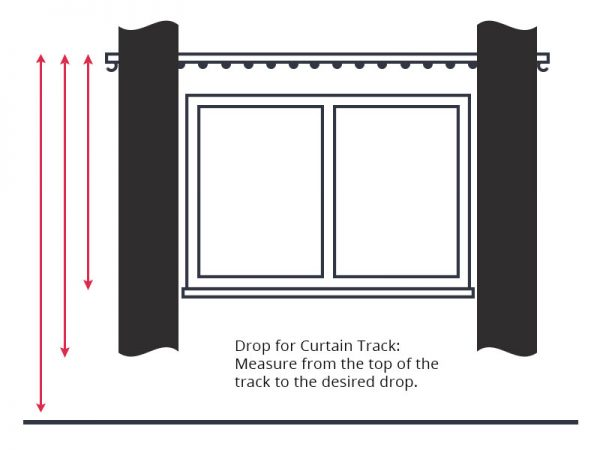 Guide to measuring curtain drop with curtain tracks.