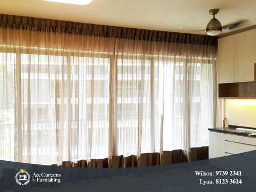 Luxurious day curtain with top and bottom hem in a condo living room.