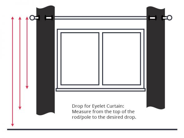 Guide to measuring curtain drop for eyelet curtains.