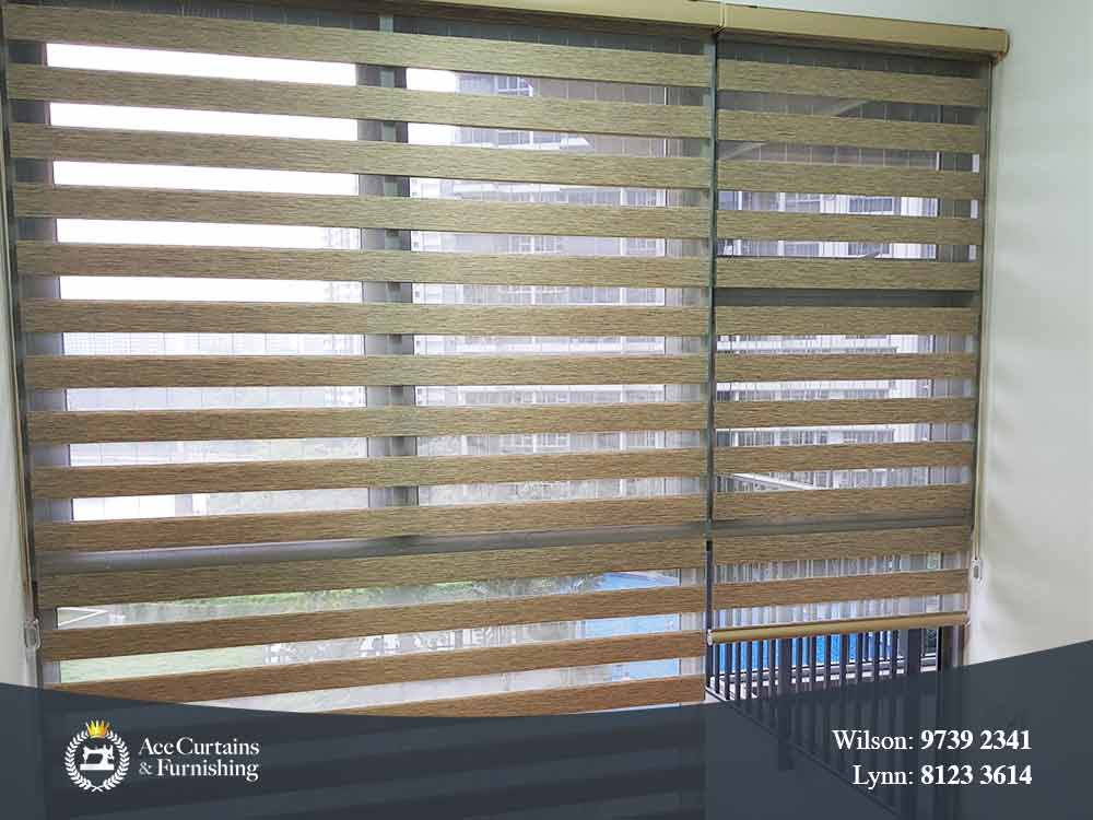 Faux wood style Korean blinds for a Condo's bedroom.