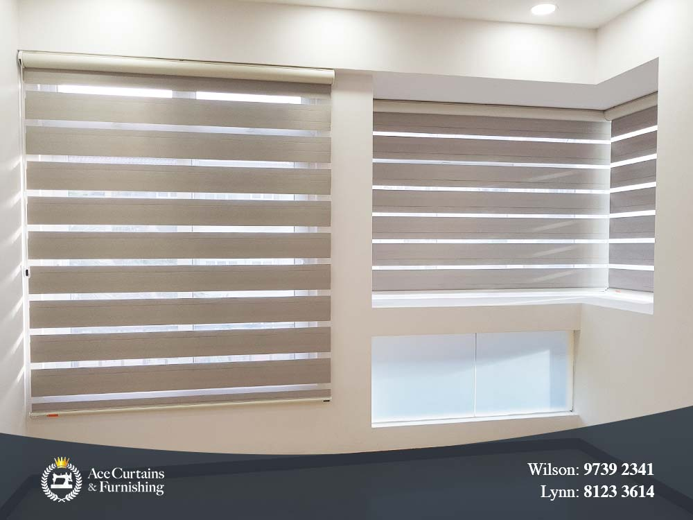 Frosted window film for small window and Zebra blinds for big windows.