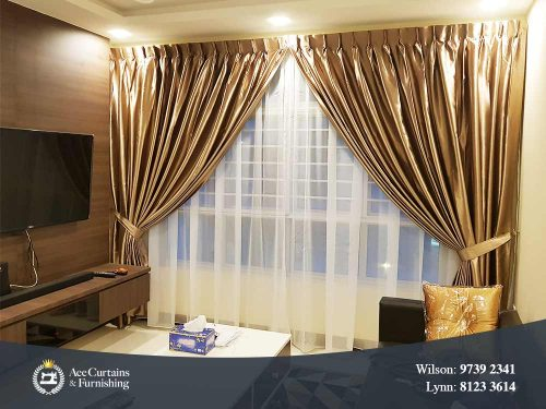 Gold satin colour night and soft day curtain in a living room.