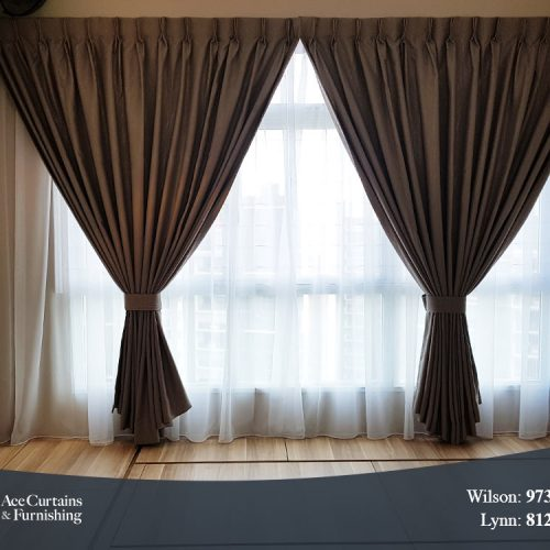 Day and night curtain set in HDB bedroom with platform bed.