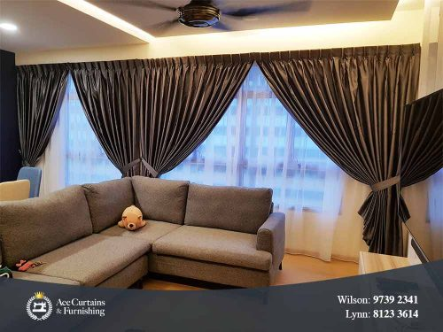 Day and night curtains set for living room provides privacy and soft natural light.