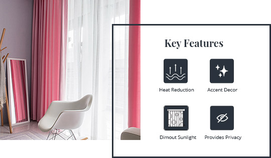 Key features of having dimout curtains. To heat, dimout sunlight, provide privacy and be accent decor.