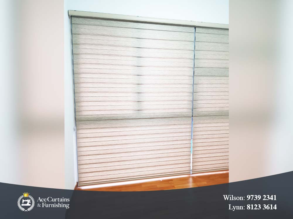 White Korean blinds installed in a bedroom for light filtering.