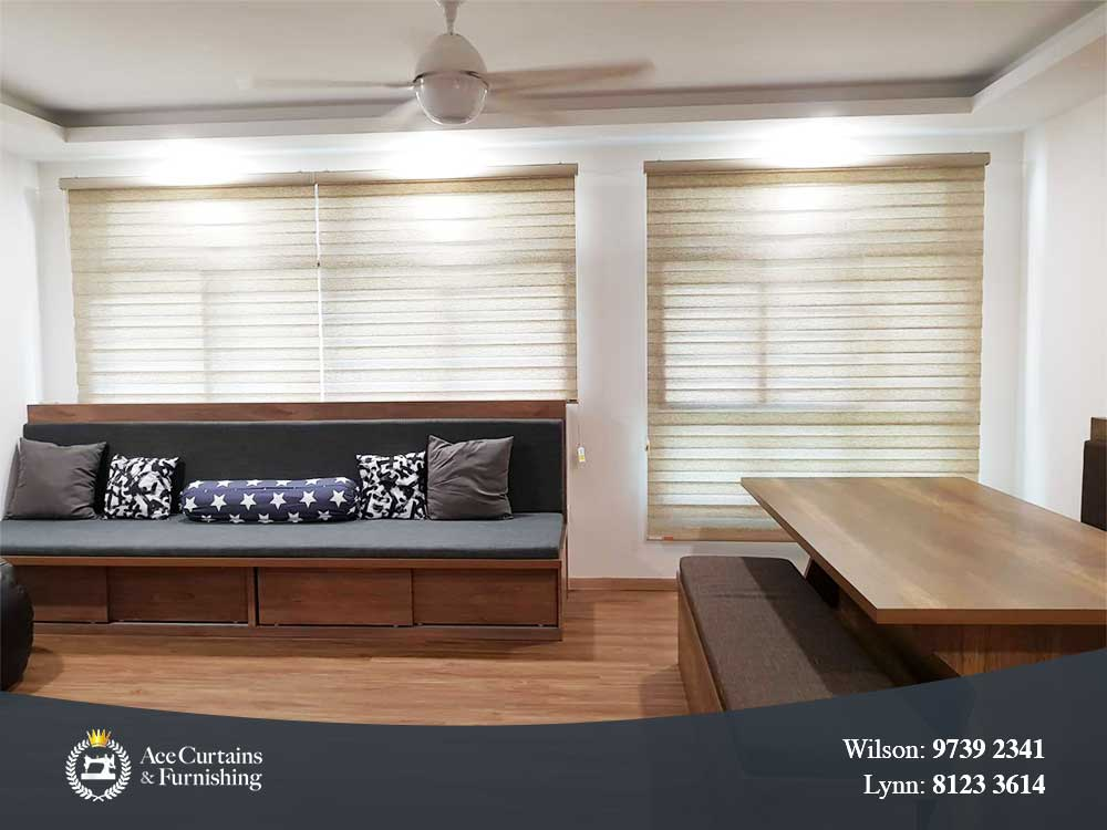 Faux wood grain Korean blinds in a minimalist home for a rustic look.