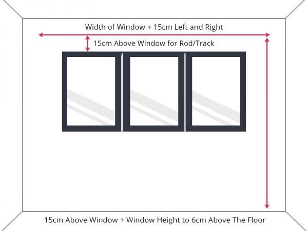 Guide to measure standard window width to floor length drop.