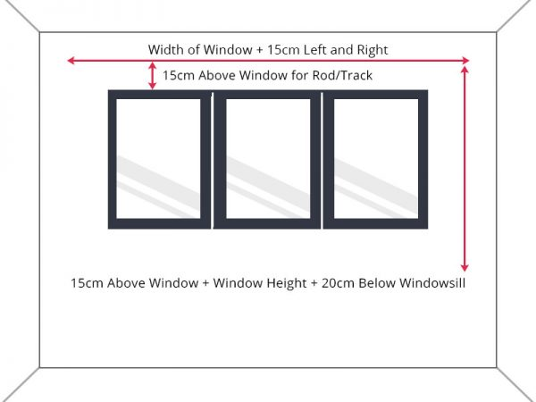 Guide to measure standard window width to below windowsill drop.