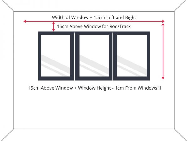 Guide to measure standard window width to above windowsill drop.