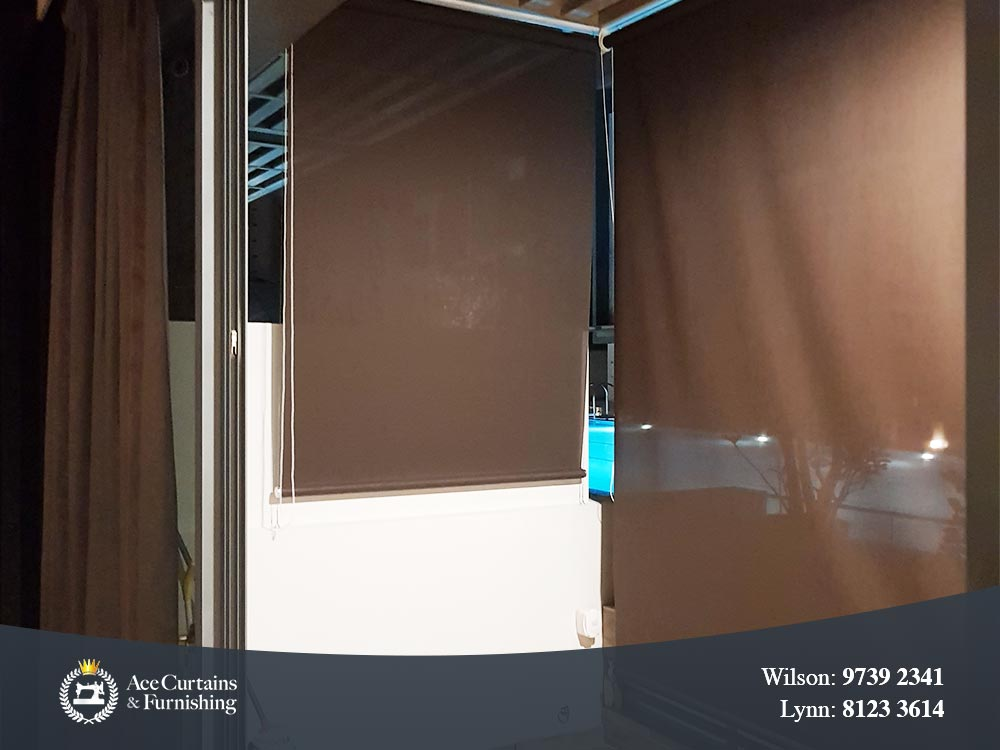 Brown outdoor roller blinds and day curtains to provide privacy for home.