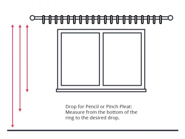 Guide to measuring curtain drop for pencil or pinch pleat curtains.