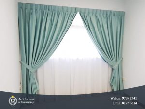Teal night curtain and sheer day curtain for bedroom.