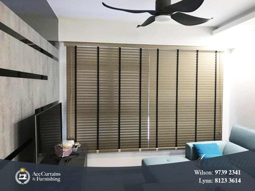 Timber venetian blind for Singapore BTO flat in a living room.