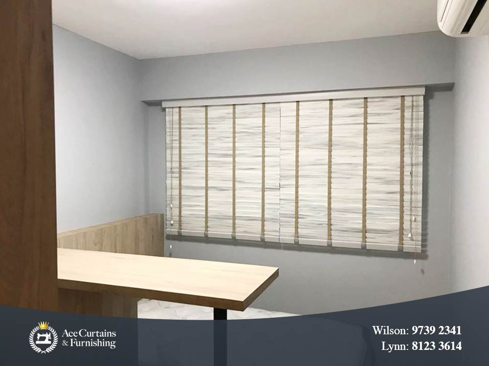 Wooden timber venetian blinds for study room to block out light.