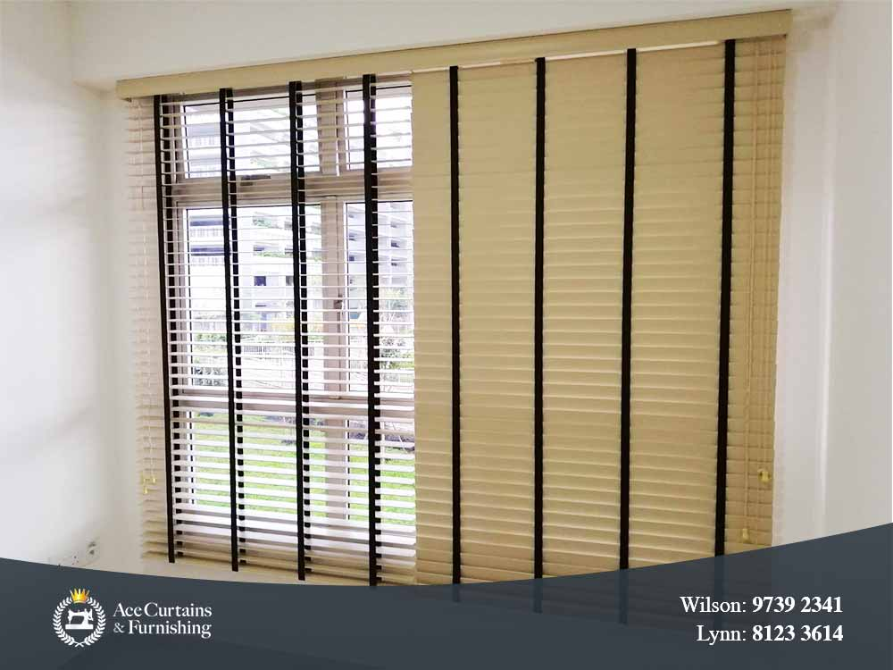 PVC venetian blinds open and close for privacy and light filter.