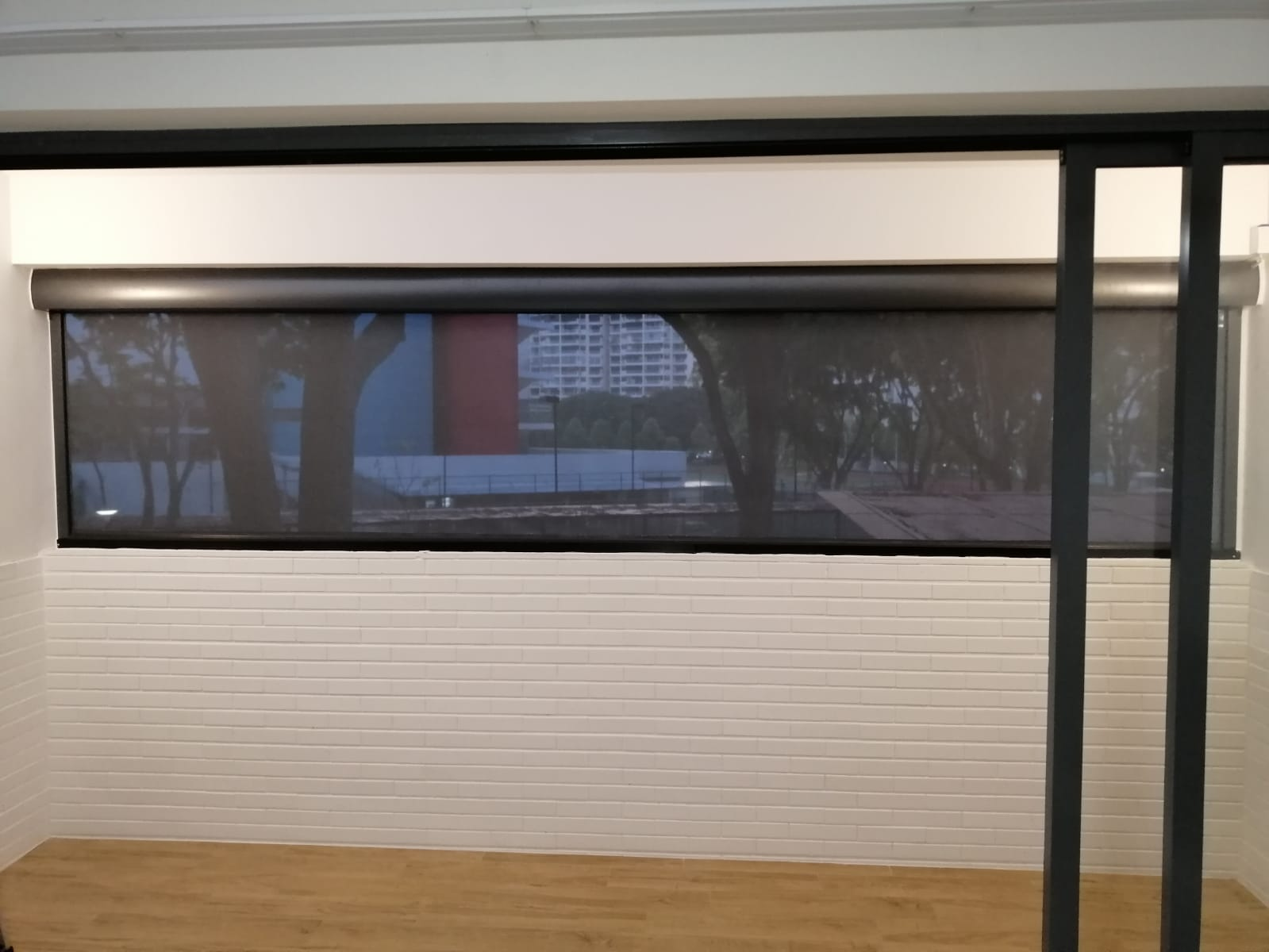 Smart Zip blinds installed on a balcony