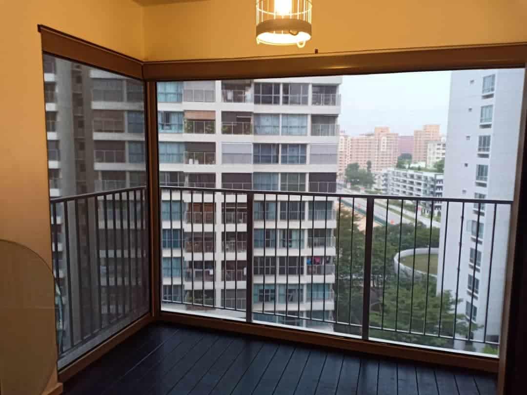 Black smart zip blinds for balcony mesh screen