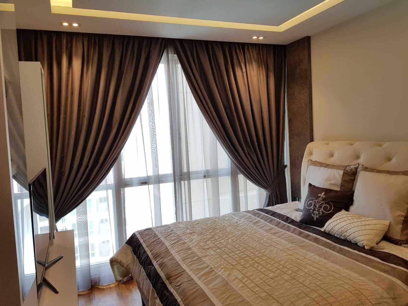 Bedroom copper colour night curtain with grey day curtain