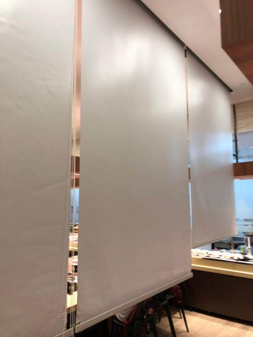 Sushi Express privacy roller blinds in restaurant