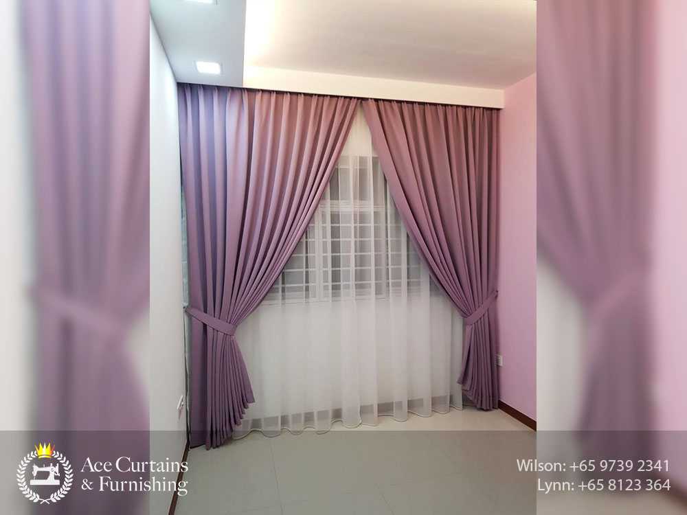 HDB purple night curtain and day curtain with plummet