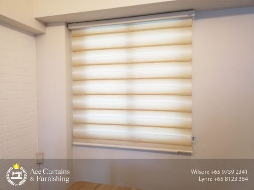 Translucent beige Korean roller blind in HDB bedroom