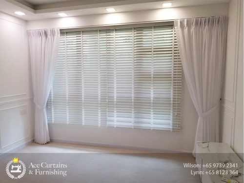 Layering Venetian blinds with day curtains for a themed HDB flat