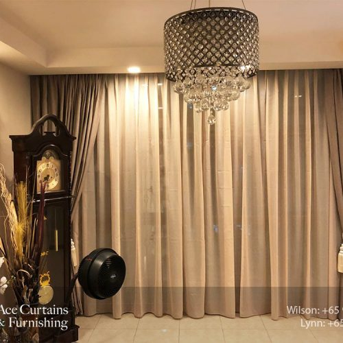 Pleated night curtains with day curtain for living room