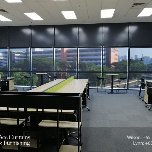 Office roller blind shades with black system for cooling and privacy