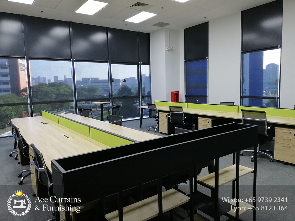 Office roller blind shades with black system for preventing glare and overheat