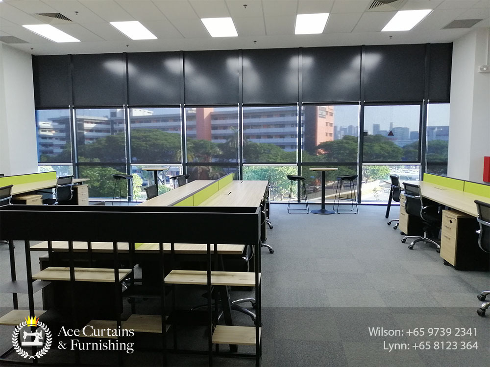 Office roller blind shades with black system drawn open