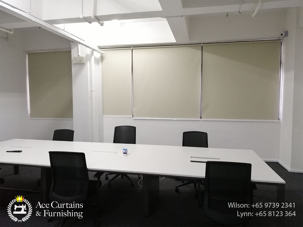 Office meeting room privacy roller blinds