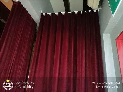 Restaurant bar velvet blackout curtain for privacy between staff and guests